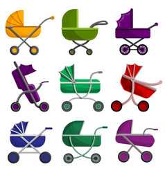pram icon set cartoon style vector image