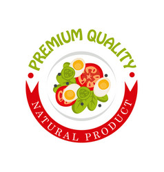 premium quality natural product colorful logo vector image