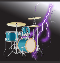 realistic drum kit background 3 vector image