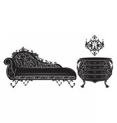Rich Baroque furniture set collection vector