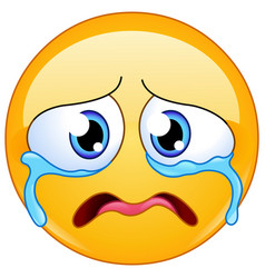 Sad crying emoticon vector