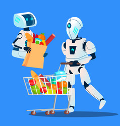 sales robot going with large shopping bags with vector image