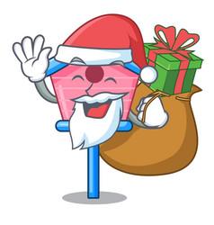 santa with gift bird house on a tree cartoon vector image