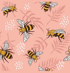 Seamless pattern with bees and leaves vector