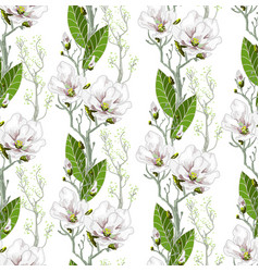 seamless spring pattern with magnolias vector image