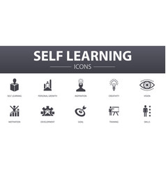 Self learning simple concept icons set contains vector