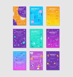 set 9 abstract posters with geometric vector image