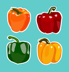 Set of flat cartoon peppers stickers vector