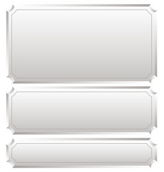 Set of metallic plaques plaquettes plates with vector