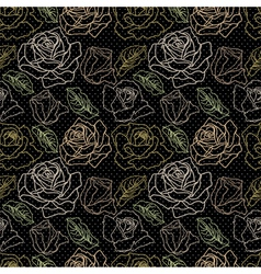 Set of roses on black vector image