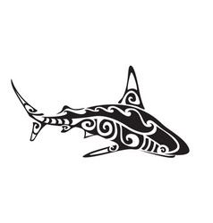 Shark polynesian tattoo vector