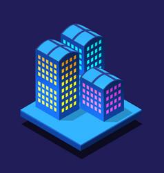 smart city night neon ultraviolet isometric vector image