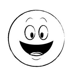 smiling chat emoticon sketch vector image