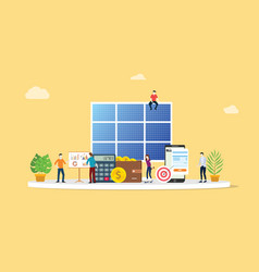 solar panel energy business electric saving vector image