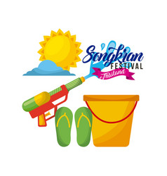 songkran festival thailand bucket water weapon vector image