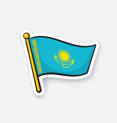 sticker flag kazakhstan on flagstaff vector image