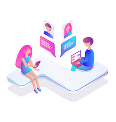 Teenager people chatting icon vector
