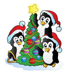 Three penguins with christmas tree vector