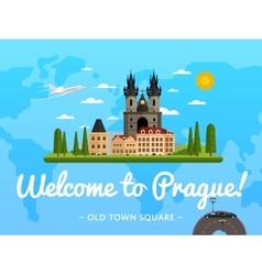 Welcome to Prague poster with famous attraction vector