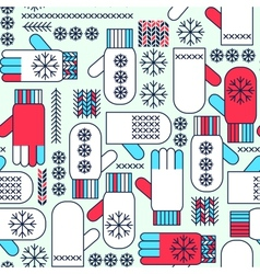 Winter mittens snowflake seamless pattern vector image
