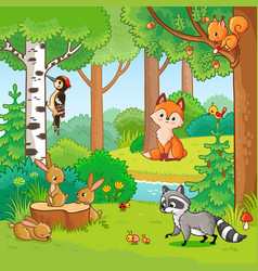 with cartoon animals vector image