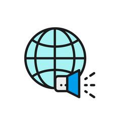 world with megaphone social media news vector image