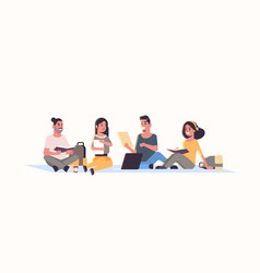 young teenage students group sitting together vector image
