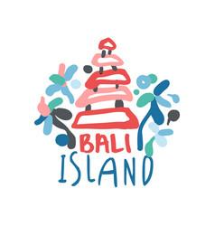 bali island summer vacation colorful travel logo vector image vector image