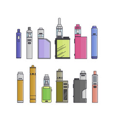 colored flat vaping device part of big set vector image vector image