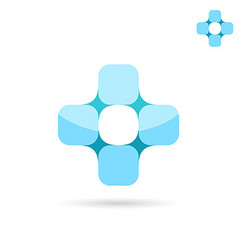Connected squares forme medical cross shape vector image vector image