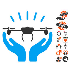 drone launch hands icon with love bonus vector image