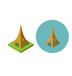 eiffel tower icons in flat isometric style vector image