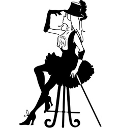 Graphic silhouette of a cabaret woman vector image vector image