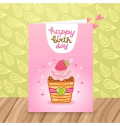 Happy birthday postcard with a beautiful cupcake vector