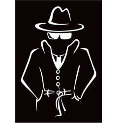 Mysterious man in the hat vector image vector image