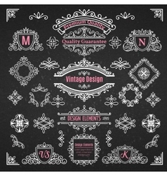 Set of Decorative Elements Dividers Frames Borders vector image vector image