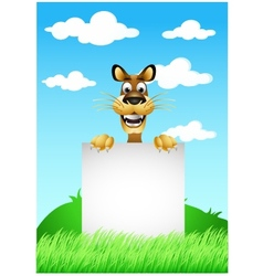 skinny cute cartoon dog with blank sign vector image vector image