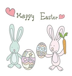 two rabbits easter holding cute eggs and carrot vector image vector image