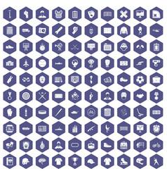 100 mens team icons hexagon purple vector