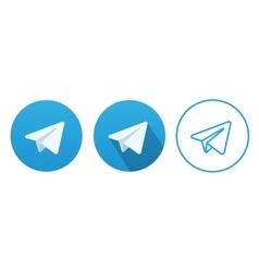 Aircraft Blue Button Icon vector image