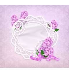 Lace frame lilac romantic background vector image