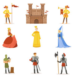 Medieval cartoon characters and european middle vector