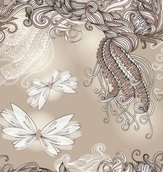 Seamless pattern with butterflies for wedding vector image vector image