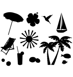 tropical icons vector image