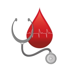 Blood drop cardiogram and stethoscope icon vector