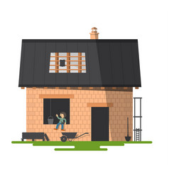 building a new family house construction with vector image vector image