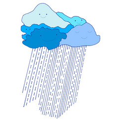 colored cartoon funny blue sky with raindrops vector image vector image