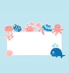 greeting card template with cute sea animals vector image
