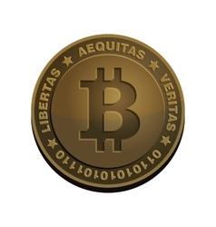Bitcoin Coin Bronze Realistic Sign vector image vector image