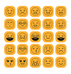 black linear flat icons of emoticons on orange vector image